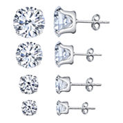 Silver Treasures 4-pc. White Cubic Zirconia Sterling Silver Earring Sets