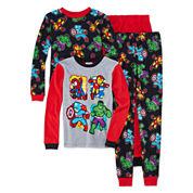 Boys 4-pc. Long Sleeve DC Comics Kids Pajama Set-Big Kid