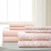 Pacific Coast Textiles Floral Print Microfiber Wrinkle Resistant Sheet Set