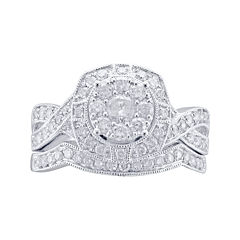 Cherished Hearts™ 1 CT. T.W. Diamond 14K White Gold Milgrain Bridal Ring Set