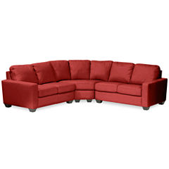Leather Possibilities Track-Arm 3-pc. Loveseat Sectional