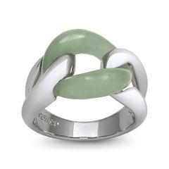 Green Jade Sterling Silver Interlocking Ring