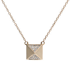 1/10 CT. T.W. Diamond 10K Rose Gold Pyramid Necklace