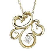 1/10 CT. T.W. Diamond 10K Yellow Gold Pendant Necklace