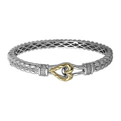 Diamond-Accent Sterling Silver and 14K Yellow Gold Bangle Bracelet