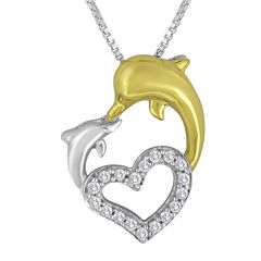 1/10 CT. T.W. Diamond Heart-Shaped Pendant Necklace