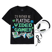Boys Graphic Tee & Headphones-Big Kid