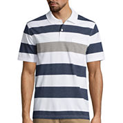St. John's Bay® Short-Sleeve Striped Jersey Pocket Polo Shirt