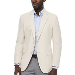 Stafford Linen Cotton Bone Herringbone Sport Coat-Slim