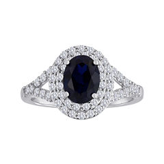 Lab-Created Blue & White Sapphire Double Halo Sterling Silver Ring
