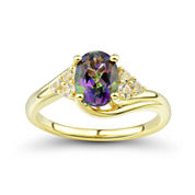 Genuine Mystic Topaz and Lab-Created White Sapphire 14K Gold over Silver Ring
