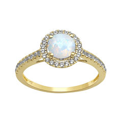 Lab-Created Opal and White Sapphire 10K Yellow Gold Halo Ring
