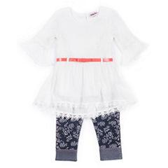 Little Lass Girls 2-Pc. White Gauze Top With Denim Set