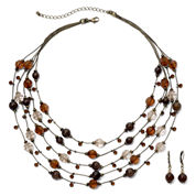 Bead & Crystal Necklace & Earring Set