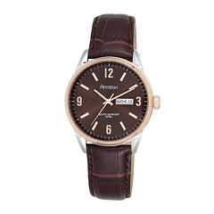 Armitron® All-Sport® Mens Brown Dial Brown Leather Strap Watch