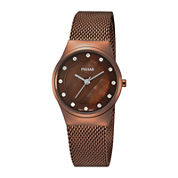Pulsar® Womens Crystal-Accent Brown Stainless Steel Mesh Watch PH8055