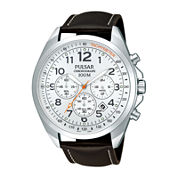 Pulsar® Mens Brown Leather Strap Chronograph Sport Watch PT3419X