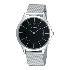 Pulsar® Mens Stainless Steel Mesh Watch PTA499X