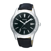 Pulsar® Mens Black Leather Strap Watch PXH839X
