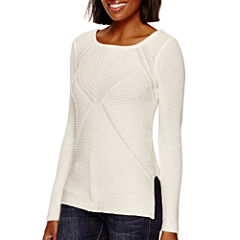 a.n.a® Long-Sleeve High-Low Sweater- Petite