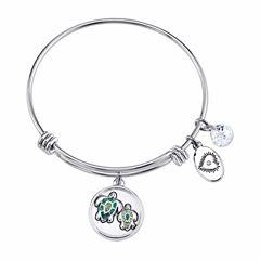 Footnotes Womens Green Crystal Silver Over Brass Bangle Bracelet