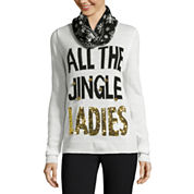 Self Esteem Long Sleeve Round Neck Pullover Sweater-Juniors