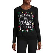 Long Sleeve Scoop Neck Pullover Sweater-Juniors