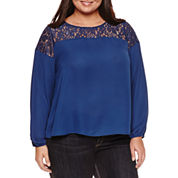 Boutique + Long Sleeve Round Neck Georgette Blouse-Plus