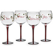 Pfaltzgraff® Winterberry Set of 4 Sentiments Wine Glasses