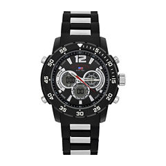 U.S. Polo Assn.® Mens Black Rubber Strap Sports Watch