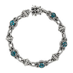 Shey Couture Genuine London Blue Topaz Sterling Silver 14K gold Bracelet