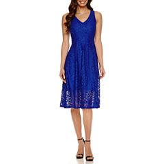 Ronni Nicole Sleeveless Lace Pattern Fit & Flare Dress