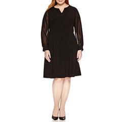 London Times Long Sleeve Fit & Flare Dress-Plus