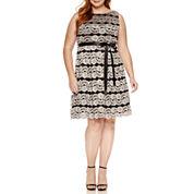 Jackie Jon Sleeveless Sequin Fit & Flare Dress-Plus