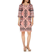 Liz Claiborne 3/4 Sleeve Printed Shift Dress