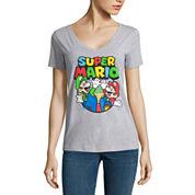 Short Sleeve V Neck Super Mario Graphic T-Shirt