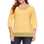 St. John`s Bay 3/4 Sleeve Scoop Neck T-Shirt-Plus