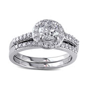 1⅙ CT. T.W. Diamond 10K White Gold Bridal Ring Set