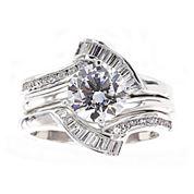DiamonArt® Cubic Zirconia Sterling Silver Solitaire Bridal Ring & Guard