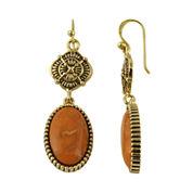 Art Smith by BARSE Genuine Sponge Coral Brass Drop Earrings