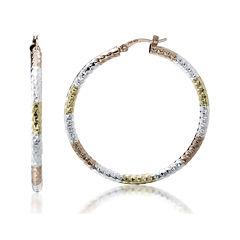 14K Gold Over Sterling Silver Tricolor Hoop Earrings