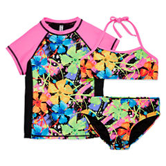 Breaking Waves Pattern Rash Guard Set - Big Kid