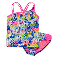 Breaking Waves Girls Solid Tankini Set - Big Kid