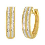 1/3 CT. T.W.  Diamond 14K Gold Over Sterling Silver 2-Row Hoop Earrings
