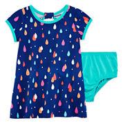 Okie Dokie® Short-Sleeve Back-Bow Dress - Baby Girls newborn-24m