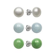 Sterling Silver Cultured Freshwater Pearl, Jade & Genuine Aquamarine Earrings