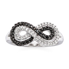 1/5 CT. T.W. White & Color-Enhanced Black Diamond Infinity Ring