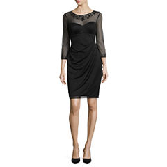 DJ Jaz 3/4 Sleeve Embellished Sheath Dress