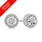 1/10 CT. T.W. Round White Diamond Sterling Silver Stud Earrings