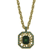 1928® Green and Blue Stone Gold-Tone Pendant Necklace
